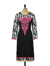 Black And White Full-sleeved Printed Kurta With A Pink Floral Yoke - AKYRA
