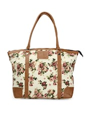 Stylish Cream And Brown Tote Bag With Multi-coloured Floral Prints - Moac