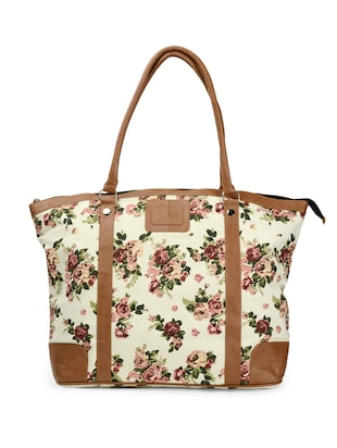 Multi floral printed canvas tote bag -  online shopping for Totes