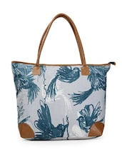 Trendy Blue Bird Print Tote Bag - Moac