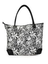 Black and white floral print tote bag -  online shopping for Totes