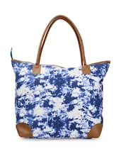 Blue And White Printed Casual Tote Bag - Moac