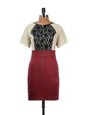 Elegant Maroon Lace Dress - CHERYMOYA