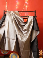 Grey And Black Bishnupuri Silk Saree - RiniSeal