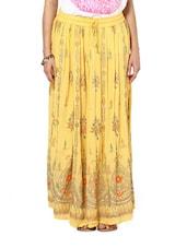 Jaipuri Cut Yellow Maxi Skirt - Ruhaan's