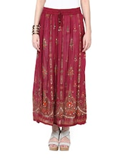 Jaipuri Print Maroon Maxi Skirt - Ruhaan's