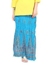 Crushed Jaipuri Print Maxi Skirt - Ruhaan's