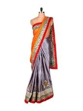 Grey And Orange Jacquard Saree With Zari Embroidery, With A Matching Blouse Piece - Saraswati