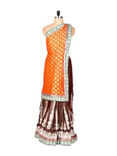 Brown And Orange Glossy Viscose Blend Sari With Prints And Thread Work, With A Matching Blouse Piece - Saraswati