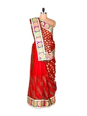 Bright Red Viscose And Net Sari With Prints And Thread Work, With A Matching Blouse Piece - Saraswati