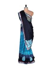 Midnight Blue And Sky Blue Art Silk Saree, With Matching Blouse Piece - Saraswati