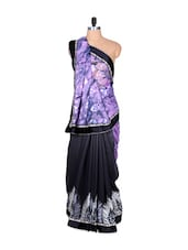 Purple Printed Art Silk Saree, With Matching Blouse Piece - Saraswati