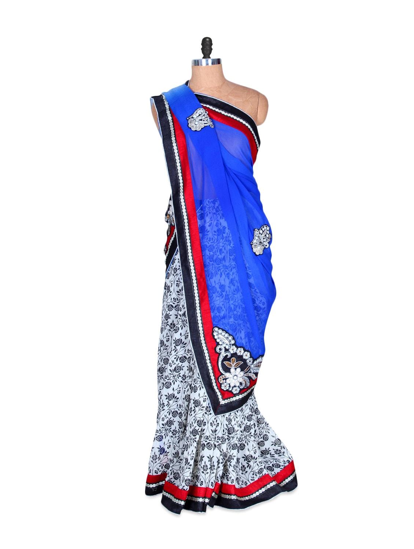 White And Blue Floral Art Silk Saree, With Matching Blouse Piece - Saraswati