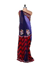 Red And Midnight Blue Zigzag Patterned Art Silk Saree, With Matching Blouse Piece - Saraswati
