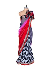 Multi-coloured Art Silk Saree With Zig Zag Prints And Thread Embroidery Work, With Matching Blouse Piece - Saraswati