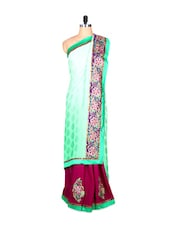 Mint Green And Purple Art Silk Saree With Thread Embroidery, With Matching Blouse Piece - Saraswati