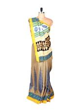 Multi-coloured Bhagalpuri Art Silk Saree In Printed Fabric, With Matching Blouse Piece - Saraswati