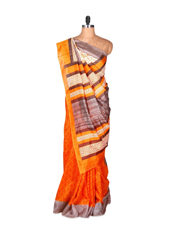 Orange And Grey Bhagalpuri Silk Saree In Printed Fabric, With Matching Blouse Piece - Saraswati