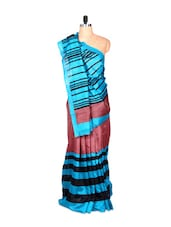 Blue And Rust Bhagalpuri Silk Saree With Black Stripes, With Matching Blouse Piece - Saraswati