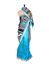 Sky Blue And Black Bhagalpuri Art Silk Printed Fabric Saree, With Matching Blouse Piece - Saraswati