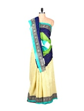 Blue, Cream And Green Art Silk Saree, With A Matching Blouse Piece - Saraswati