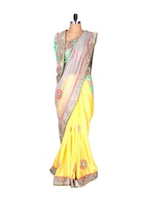 Yellow And Dull Grey Silk Saree With Thread Embroidery Work, With Matching Blouse Piece - Saraswati