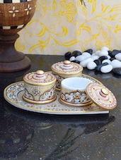 Decorative Heart Shaped Marble Tray With Three Utility Containers - ECraftIndia