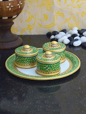 Decorative Round Tray With Three Utility Containers - ECraftIndia