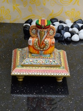 Marble Statue Of Lord Ganesha Sporting A Turban - ECraftIndia