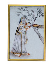 Enthralling Wall Accent Of Lady Ragini Painting In Pristine Marble - ECraftIndia