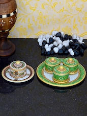 Decorative Marble Tray Along With Meenakari Containers - ECraftIndia