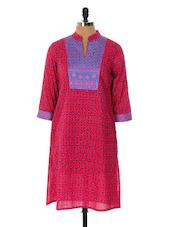 Pink And Blue Printed Kurta - Cotton Curio