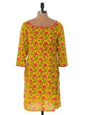 Yellow, Green And Pink Printed Kurti - Cotton Curio