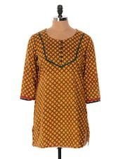 Yellow And Green Printed Kurti - Cotton Curio