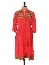 Red Long Kurta With A Printed Yoke - Cotton Curio