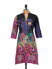 Black Cotton Kurta With Multi-coloured Floral Prints - Kaccha Taanka
