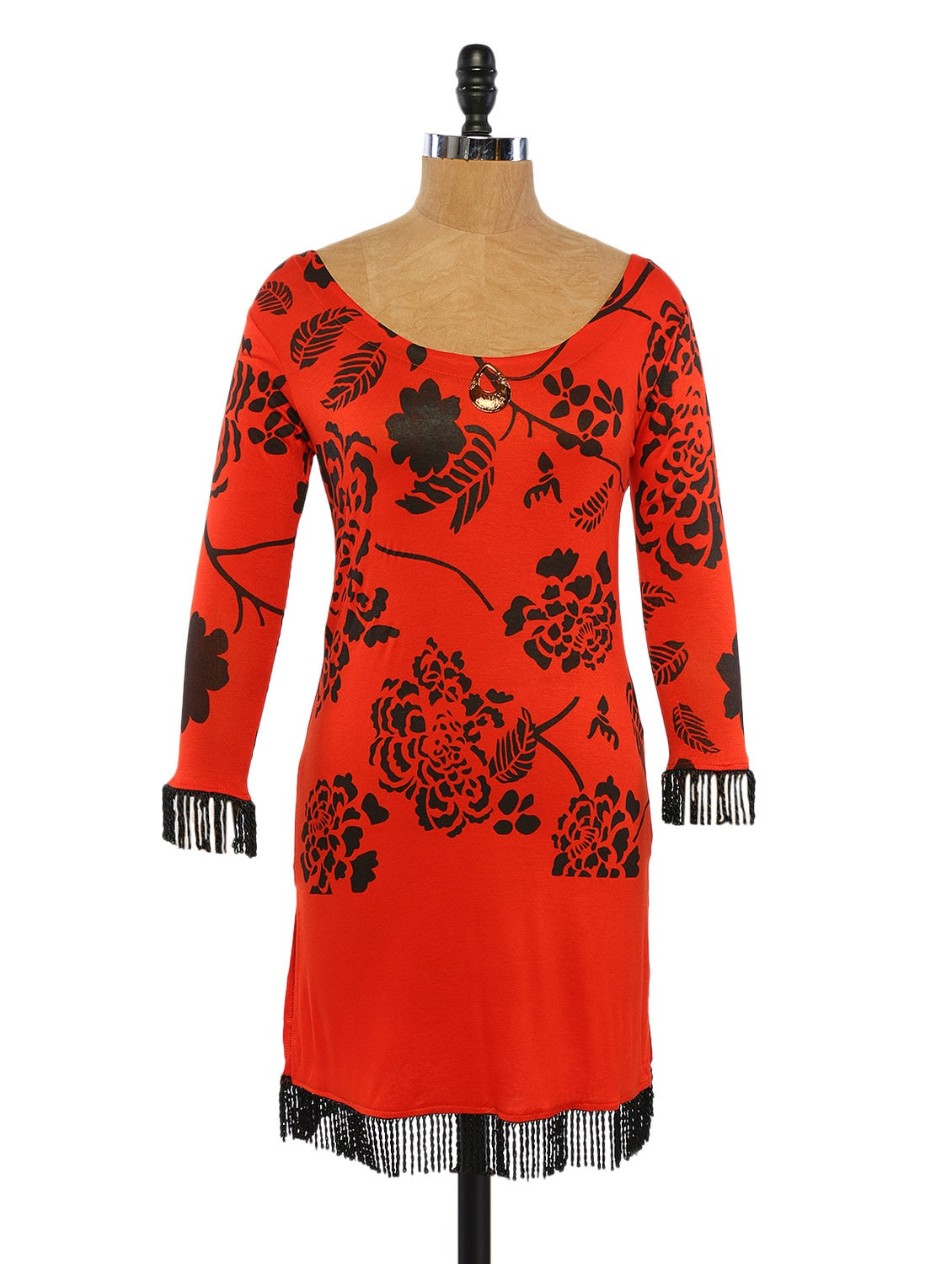 Orange And Black Printed Kurta With Frill On Sleeves And Bottom - Ira Soleil