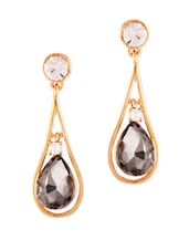 Elegant Grey Stone With Diamond Drop Shape Earrings - VIDHI