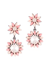 Pink Stone With Diamonds Earrings - VIDHI
