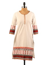 Off-white Kurta With Red Prints - Morpunc