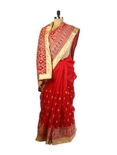 Elegant Red Super Net Saree With Zari Embroidery,  Patch Border And Matching Beige Blouse. - Drape Ethnic