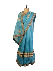 Beautiful Blue Super Net Saree With Zari And Resham Embroidery, Patch Border And Matching Black  Blouse. - Drape Ethnic