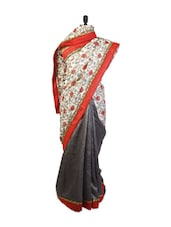 Cute Off-White And Black Art Silk Saree  With Resham And Zari Embroidered Border, Patch Border With Black Art Silk Blouse. - Drape Ethnic