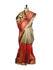 Magnificent Beige Party  Art Silk Saree  With Resham Embroidery ,Patch Border And A  Red Art Silk Blouse. - Drape Ethnic