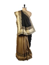 Attractive Black And Beige  Art Silk Saree With Zari Embroidery, Stone Work And A Patch Border, A Golden  Art Silk Blouse. - Drape Ethnic