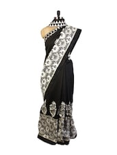 Gorgeous Black And White  Art Silk Saree With Resham And  Zari Embroidered Border , Patch Border And A Black  Art Silk Blouse. - Drape Ethnic
