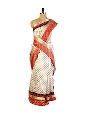 Pretty Cream Art Silk Saree With Screen Print, Resham Embroidered And A Patch Border,  Matching Red Blouse. - Drape Ethnic