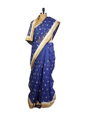 Rich Royal Blue  Benarasi Cotton Saree With Gold And Silver Zari Embroidered Bootis And A Patch Border With Matching Golden Blou - Drape Ethnic
