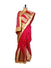 Red Benarasi Cotton Saree With Designed Golden Zari Embroidery Work , Matching Border And A Red Raw Silk Blouse. - Drape Ethnic