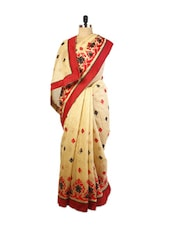 Beige And Red Benarasi Cotton Saree With Heavy Resham Embroidery Work,  Design Red Border And A Raw Silk Blouse. - Drape Ethnic